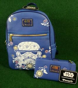 DISNEY Loungefly Star Wars Blue Storm Trooper Floral Mini Backpack + WALLET NEW