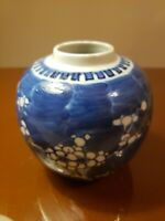 Chinese antique 19th century blue and white ice plum jar small jar