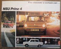 NSU PRINZ 4 orig 1960s UK Mkt Larger Format Sales Brochure Prospekt