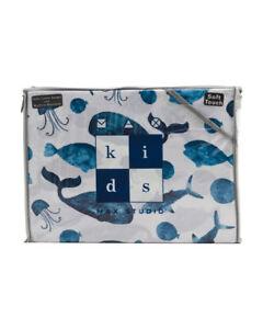 Max Studio Kids Soft Touch Cotton Whale Fish Coastal Sea 3-Piece Twin Sheet Set