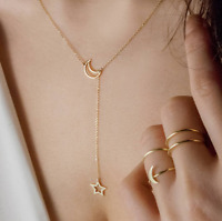 Fashion Gold Silver Chain Choker Simple Hollow Star Moon Pendant Necklace Women