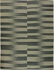 Contemporary Striped Dark and Light Gray Kilim Blend Wool Rug N11172