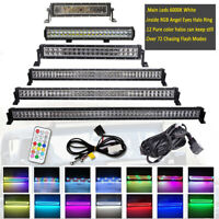 Offroad Led Light Bar Combo with RGB Angel Eyes Halo Ring Color Changing Chasing