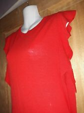 Dorothy Perkins Christmas  Red Fitted Top With Frilly Shoulders. Never Worn. Vgc