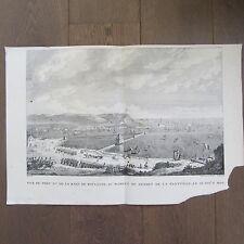 GRAVURE 1850 PAR VERNET NAPOLÉON 1803 PORT DE BOULOGNE DÉPART FLOTTILLE