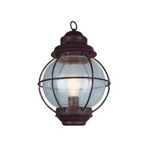 Bel Air Lighting Lighthouse 1-Light Outdoor Hanging Rustic Bronze Lantern