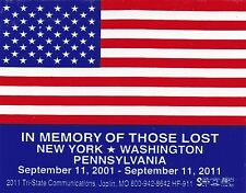 USA Flag, In Memory of 9/11 Hard Hat Stickers, 4 for $4! Free Shipping!