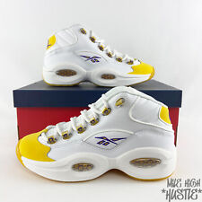 Reebok Mid Question Yellow Toe Size 5.5Y 6.5Y White Yellow Purple FX4286