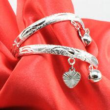 Silver Toned Kids Bangles-Anklets-Ankle Bracelets w/ Jingle Bell Ball/Heart