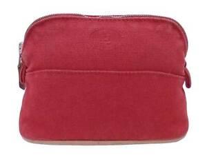 Auth HERMES Bolide Mini Pouch Multicase Red 100% Cotton - e49265