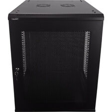 15U Wall Mount Network Server Data Cabinet 24-inch Perforated Door Locking Key