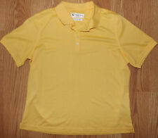 LINKS TECH  WOMENS STRETCHY POLO YELLOW WORKOUT SHORT SLEEVE SIZE LARGE