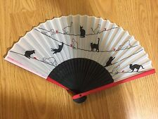 Japanese Folding Fan (Sensu): Cat Playing with Tops painting: Very Chic Color
