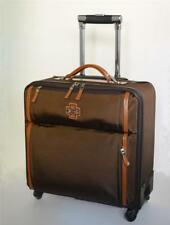 "Rose Tree 15"" Coffee & Caramel Business Case Carry On Spinner Leather MSRP $500"