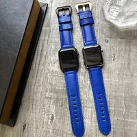Für Apple Uhr Serie 6 Se 5 4 40mm 44mm Elektrisch Blau Kalb Leder Armband