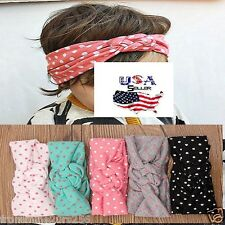 Lot of 5  Baby Toddler Girls Turban Cotton Braided Knot Dot Headbands Headwear
