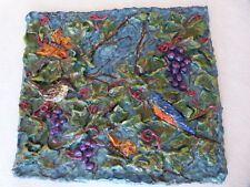 Original Oil on Plaster Fruit Birds Donna-Lee Pierce Ketterling Signed 3 Dimensi