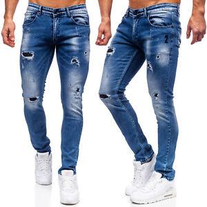 Jeans Hose Denim Freizeithose Casual Freizeit Clubwear Classic Herren BOLF Motiv