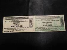 Vintage Chicago Aurora Elgin Railway Company Maywood Railroad 2 Way Tickets