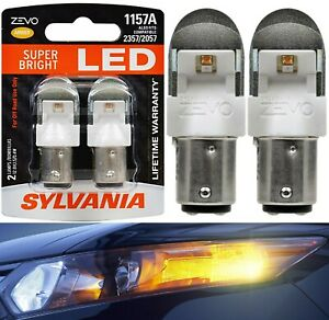 Sylvania ZEVO LED Light 1157 Amber Orange Two Bulbs Stop Brake Replacement OE
