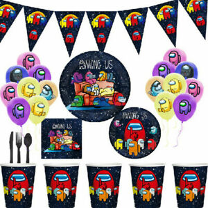 Among us Themed Birthday Decorations Tableware Cups Plates Napkins Banner Hats