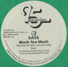 """12"""" Boogie - Funk SASS much too much 1982 FANTASTIC COLORED REISSUE"""