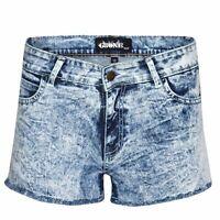 WOMEN'S LADIES BLUE ACID DARK WASH DENIM HOT PANTS STRETCH SUMMER JEANS SHORTS