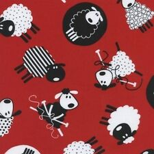 Fun Sewing and Knitting Sheep on Red Cotton Fabric Fat Quarter