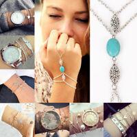 Girl's Women Crystal Rhinestone Gold/Silver Plated Chain Bangle Bracelet Jewelry