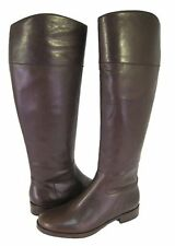 NEW Womens Ralph Lauren Willa Dark Brown Burnished Calf Leather Riding Boots 10B