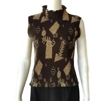 Jaipur Vintage Womens Brown Sleeveless Ruffed Collar Geometric Blouse PS