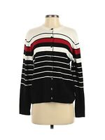 Dressbarn Women's Button Down Cardigan Sweater Size Small Beige Black Red Stripe