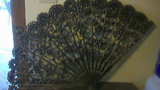 "VINTAGE BURWOOD FAN WALL HANGING DECOR, 43"" x 26.5"", BLACK SILVER WASH"