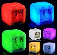 7 Colour Backlight Modern Digital Alarm Clock LCD LED Snooze Large Digit Time