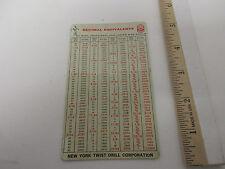 Vintage New York Twist Company Decimals, Drills, Wire, Slide Rule