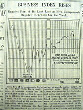 1937 NY Times newspaper w graphic display chart - STOCK CRASH & GREAT DEPRESSION