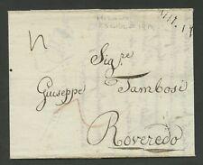 Prefilatelica prephilatelic da Milano a Roveredo - 23 giugno 1819 - con testo