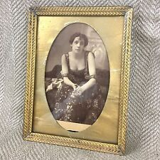 Antique Brass Picture Frame 19th C Victorian Lady Girl Original Photo Decorative