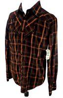 Rare Vintage New Western Plaid Burnt Orange Button Up Shirt Size Large