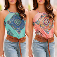 Womens Boho Sleeveless Floral Vest Tank Tops Summer Beach Loose T-Shirts Blouse