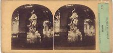 Italie Naples Satue Villa Réale Furne et Tournier Stéréo Vintage albumine ca 186