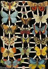 German Embossed Scrap Die Cut- Beautiful Colorful Butterfly Moth EF7297