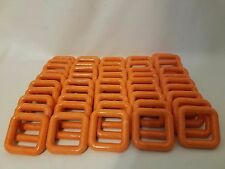 "Lot of 50 Square 2"" Two Inch Orange Marble Plastic Marbella Macrame Craft Rings"