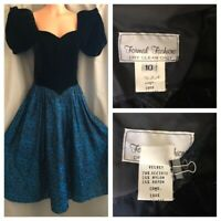 80's Party Prom Dress Black Velvet Puff Sleeves Blue Floral Taffeta Ball Gown 10