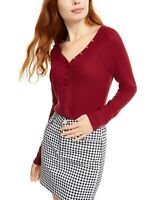 Ultra Flirt Juniors' Cozy Waffle-Knit Henley Top Red Size Extra Large