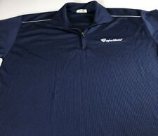 Taylor Made Polo Shirt VTG 90s Fits Mens Large Blue Dri-Fit Golf 1/4 Zip Golfer