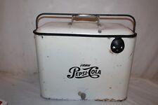 Rare Vintage 1950's Pepsi Cola Soda Pop Picnic Cooler Embossed Metal Sign