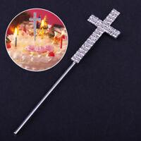 """5"""" Diamante Rhinestone Religious Cross Cake Topper Pick for Baptism Christening"""