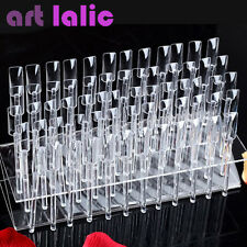 64 Sticks UV Gel Acrylic Tips Rack Samples Nail Art Display Stand Practice Tool