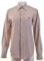 CALVIN KLEIN Womens Shirt Size 16 Large Beige Striped Cotton  EG07